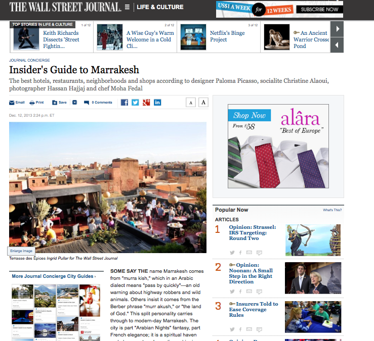 12.13.13 WSJ Travel Homepage Screenshot