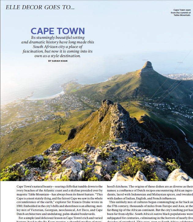 Elle Decor Goes to Cape Town