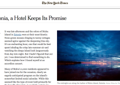 New York Times: In Estonia, a Hotel Keeps Its Promise